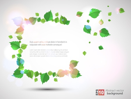 Frame with fresh green leaves Stock Vector - 14134256