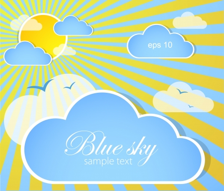 prognosis: Good weather background  Blue sky with clouds and sun Illustration