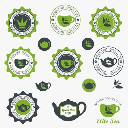 Juego de tarjetas de cosecha de té retro y etiquetas