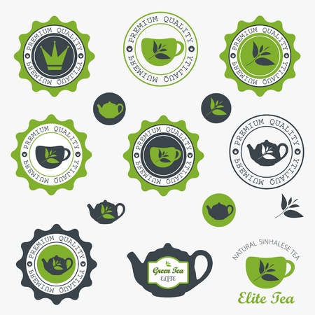 Set of vintage retro tea badges and labels