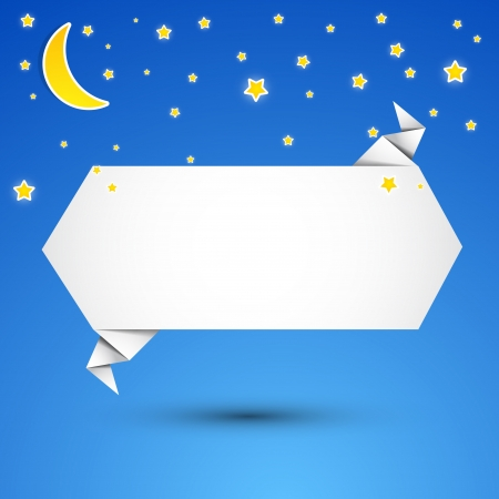 Abstract origami speech bubble background  At night Stock Vector - 14320823