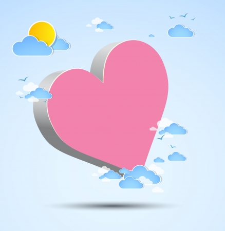 3D heart among clouds  Vector Vector