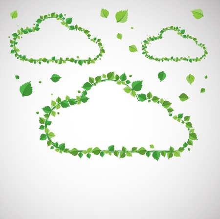 Clouds made with leaves  Summer theme  Vector