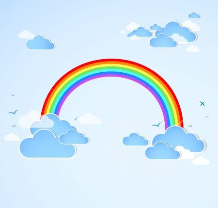 Sky background with rainbow  Vector Vector