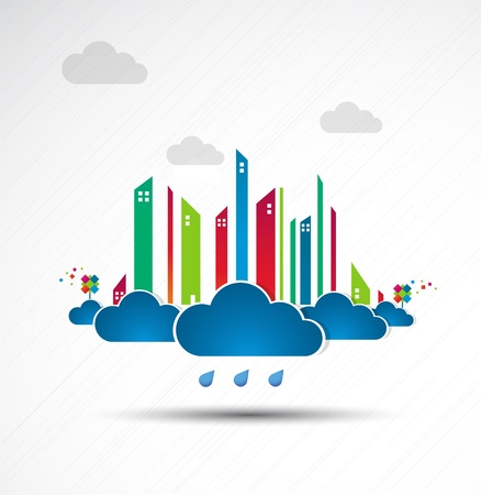Sky-scraper  City theme background  Bad weather Stock Vector - 14372492