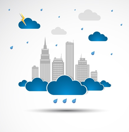Sky-scraper  City theme background  Bad weather Stock Vector - 14372491