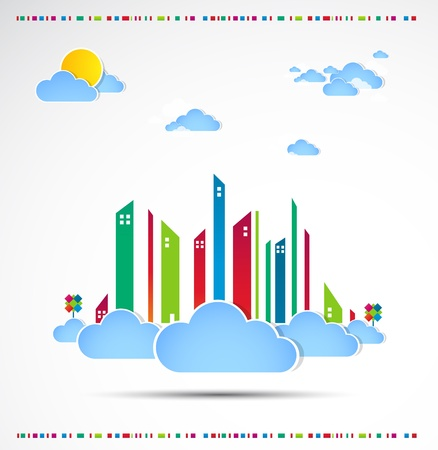 Sky-scraper  City theme background Good weather Stock Vector - 14372493