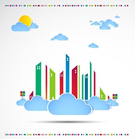Sky-scraper  City theme background Good weather Stock Vector - 14372493