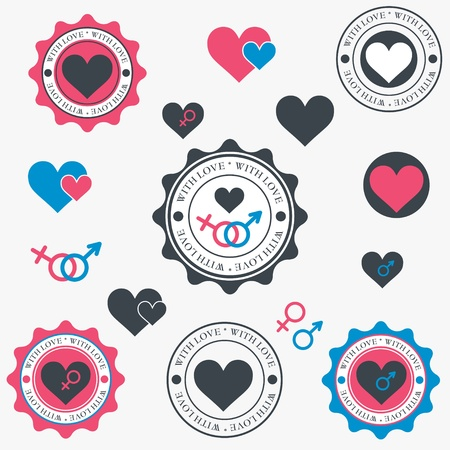 Set of heart icons  Vector Vector