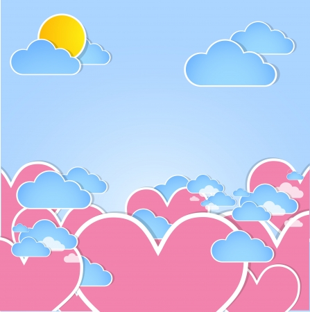 Pink hearts in the sky  Vector