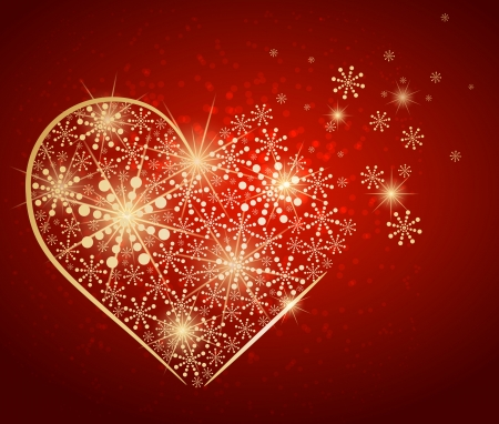 Golden heart made with snow Stock Vector - 14794624