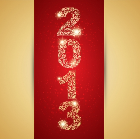 Card with Golden sign 2013 and glowing stars Vector