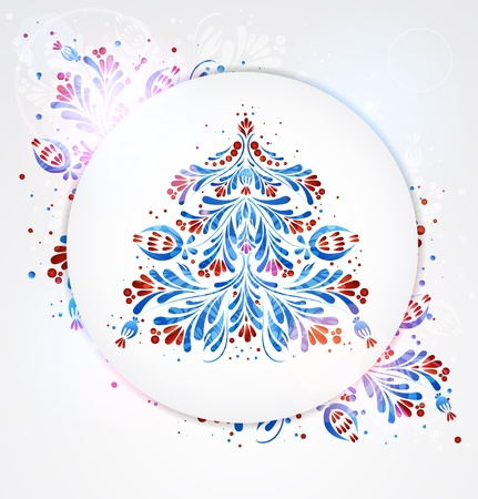 Blue New Year Tree Vector
