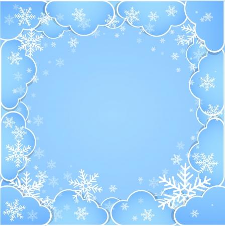 blue sky: Frame made of clouds  Abstract Background  Winter theme Illustration
