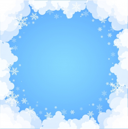 Frame made of clouds  Abstract Background  Winter theme Vector