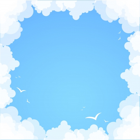 cartoon frame: Frame made of clouds  Abstract Background  Summer theme