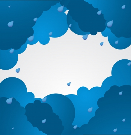rain cartoon: Bad weather background  sky with clouds  Illustration