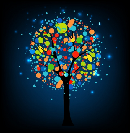 Abstract tree at night  Stock Vector - 14794539