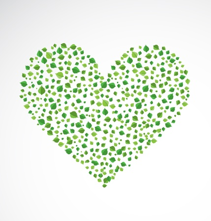 Abstract heart, made from the leaves Stock Vector - 14794597