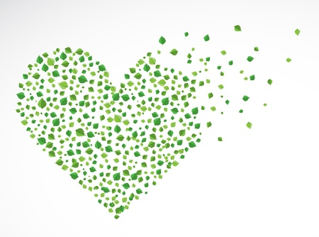 Abstract heart, made from the leaves Stock Vector - 14794596