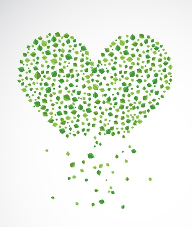 Abstract heart, made from the leaves Stock Vector - 14794595