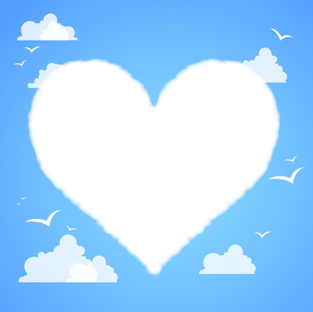 Heart shaped cloud in the blue sky Stock Vector - 14794548