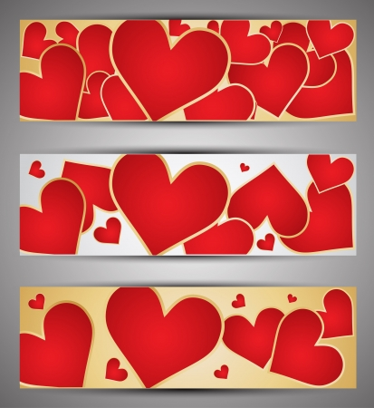 Set of web banners with hearts   Vector