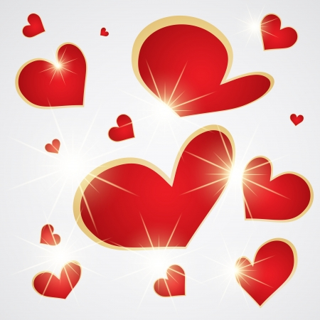 Red hearts background with glowing stars Stock Vector - 14794579