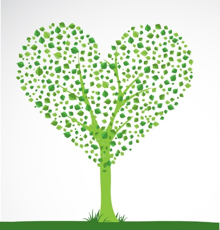 Abstract tree. Heart shape. Vector