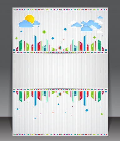 Funny city theme blank with sun and clouds. Vector