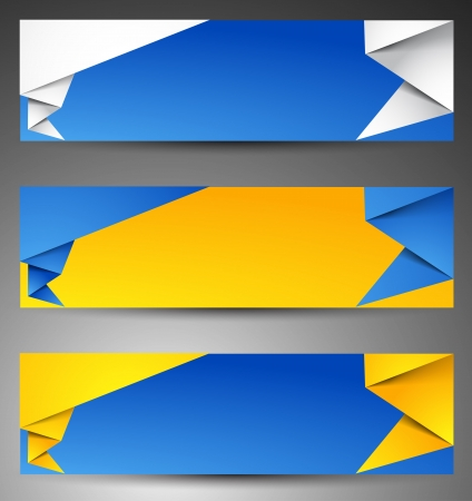Set of origami web banners. Stock Vector - 14794599