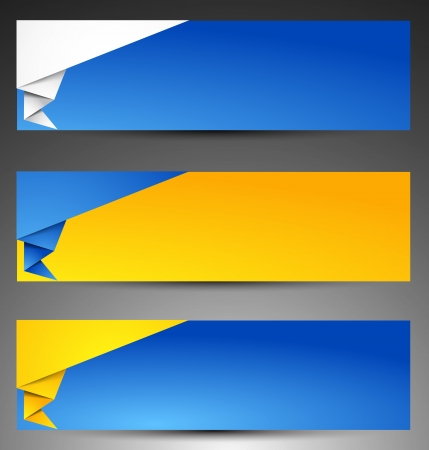 Set of origami web banners. Vector