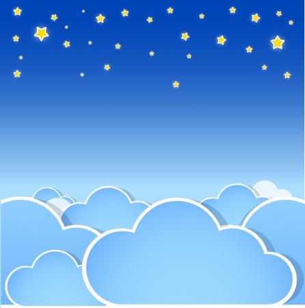 cielo estrellado: Estrellas sobre las nubes.