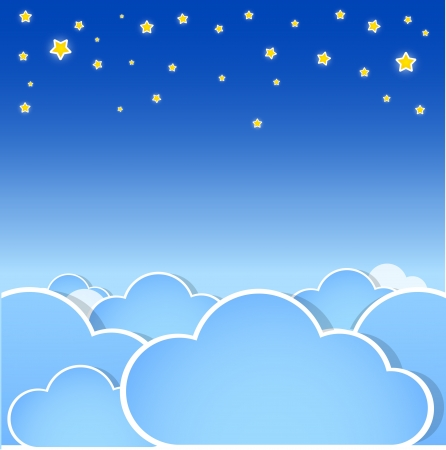 Stars over the clouds.  Vector