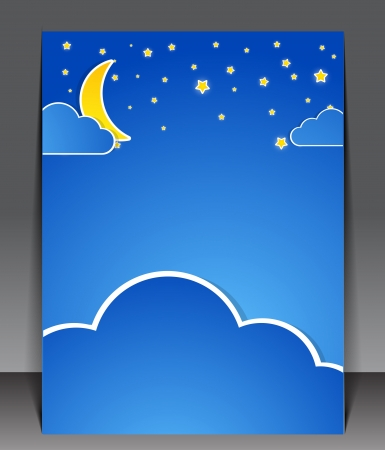 Sky at night. Blank with clouds and stars Vector