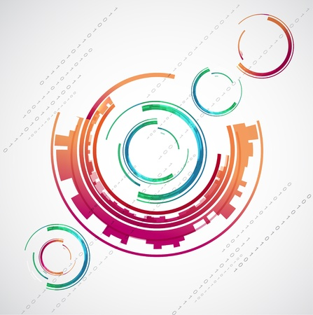 Abstract color technology circles  Stock Vector - 14794576
