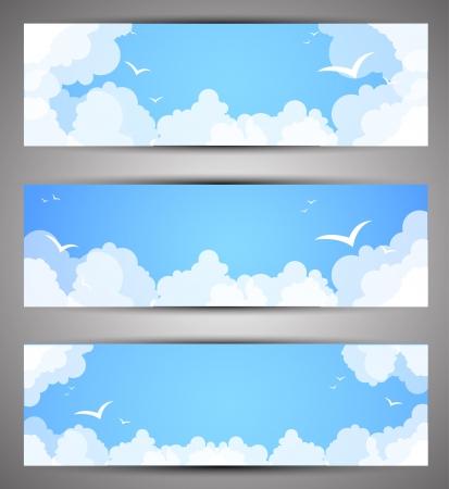 nubes caricatura: Conjunto de banners por un tiempo buen sitio