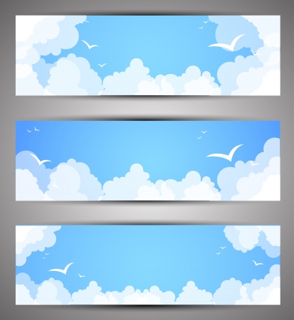 clouds in sky: Set of banners for a site  good weather