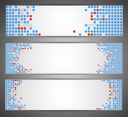 Horizontal web banners  Pixel art  Stock Vector - 14794555