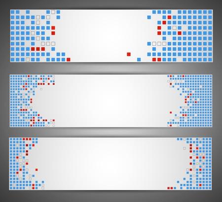 Horizontal web banners  Pixel art Stock Vector - 14794555