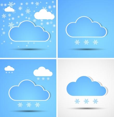 Set of winter clouds Stock Vector - 14794550
