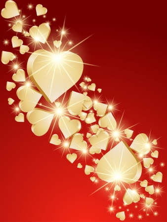 saint valentines day: Background 3d golden hearts. Vector Illustration
