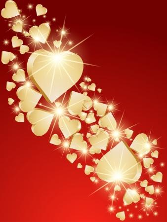 the valentine: Background 3d golden hearts. Vector Illustration
