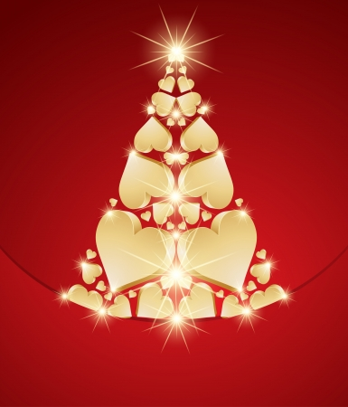 New Year tree made with hearts Vector