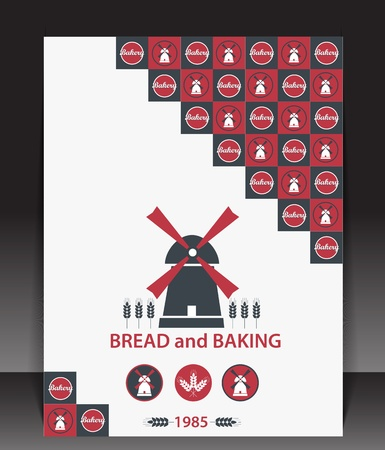 MOLINOS DE VIENTO: En blanco para panadería vectorial Vectores