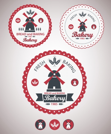 windmolens: Set van vintage retro bakkerij badges en labels Vector Stock Illustratie