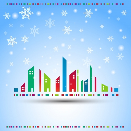 winter season: Winter in a city  Vector