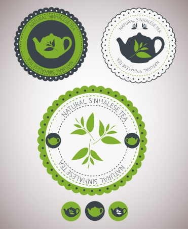 barista: Set van vintage retro thee badges en labels Vector