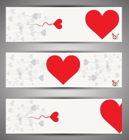 Set of web banners  Vector  Love theme Stock Vector - 15389441