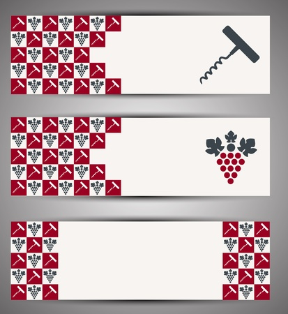 bottle screw: Web wine banner  Vector Illustration